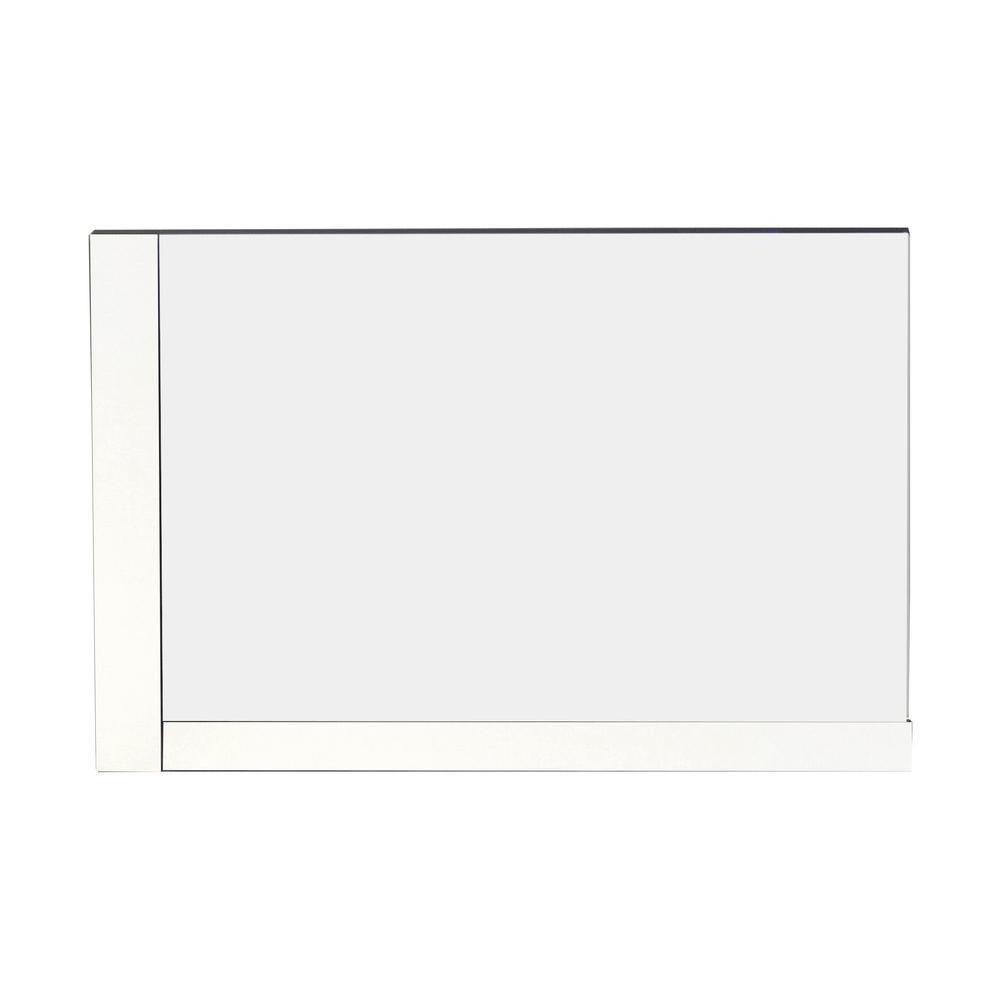 American Imaginations 32 Inch W x 24 Inch H Solid Plywood Mirror Finished with Modern Style Melamine in Glossy White Finish