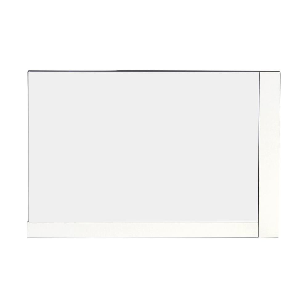 32 Inch W x 24 Inch H Solid Plywood Mirror Finished with Modern Style Melamine in Glossy White Fi...