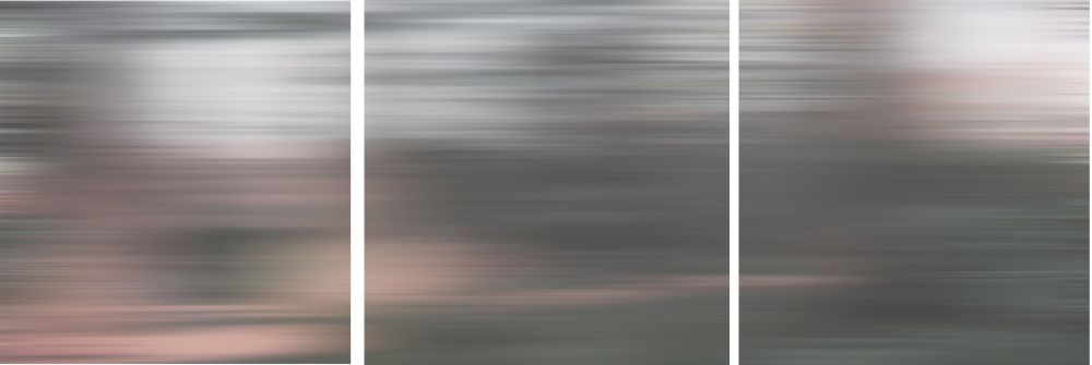 Shutter - TriptyqueGris Flous. Dimensions : 12 x 12 po.