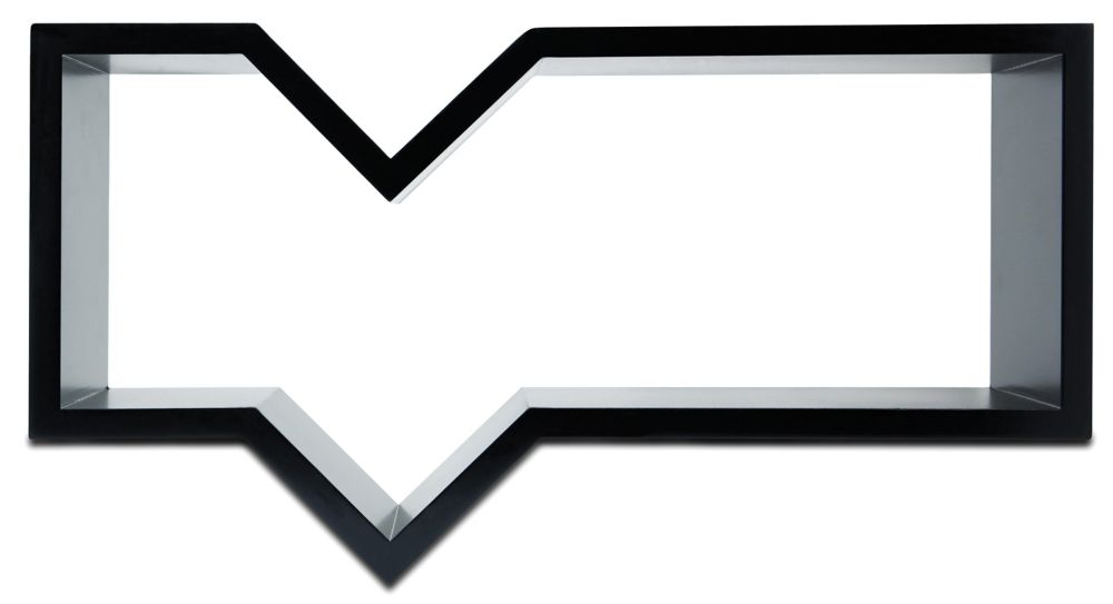 Quote Wall Shelf, 11 by 20-Inch, Black