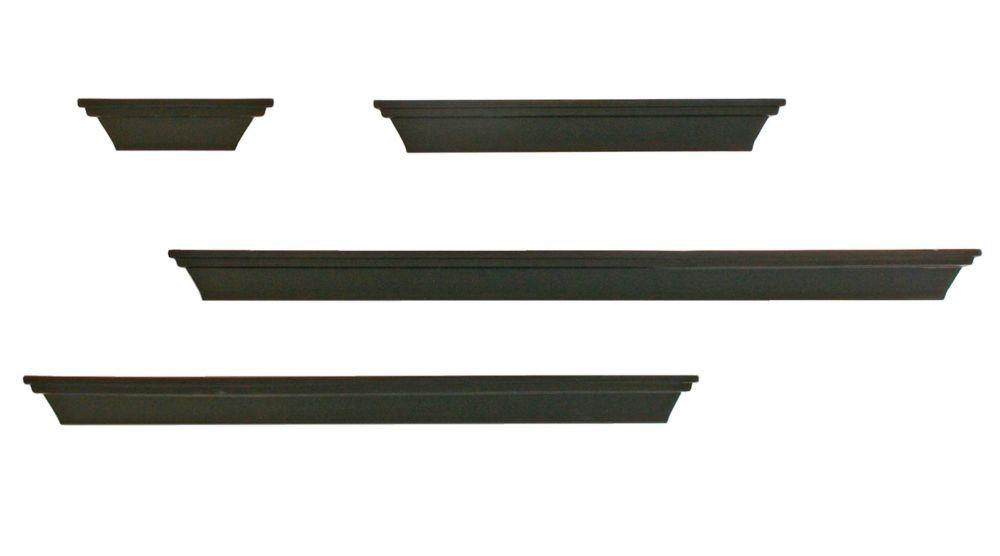 PN18534-2 4-Piece Contoured Multilength Black Ledge Shelving