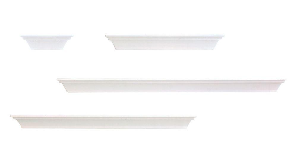 PN18534-2 - Ensemble de quatre étagères profilées, de longueur variable et de couleur blanc