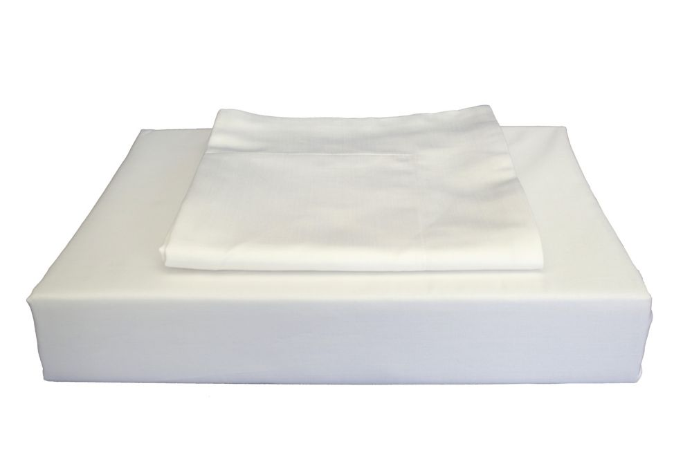 310TC Bamboo Solid Duvet Cover Set, White, Queen
