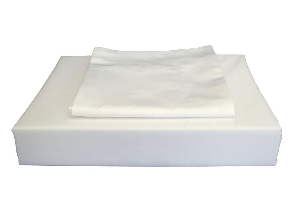 Maholi 310TC Bamboo Solid Duvet Cover Set, White, Queen