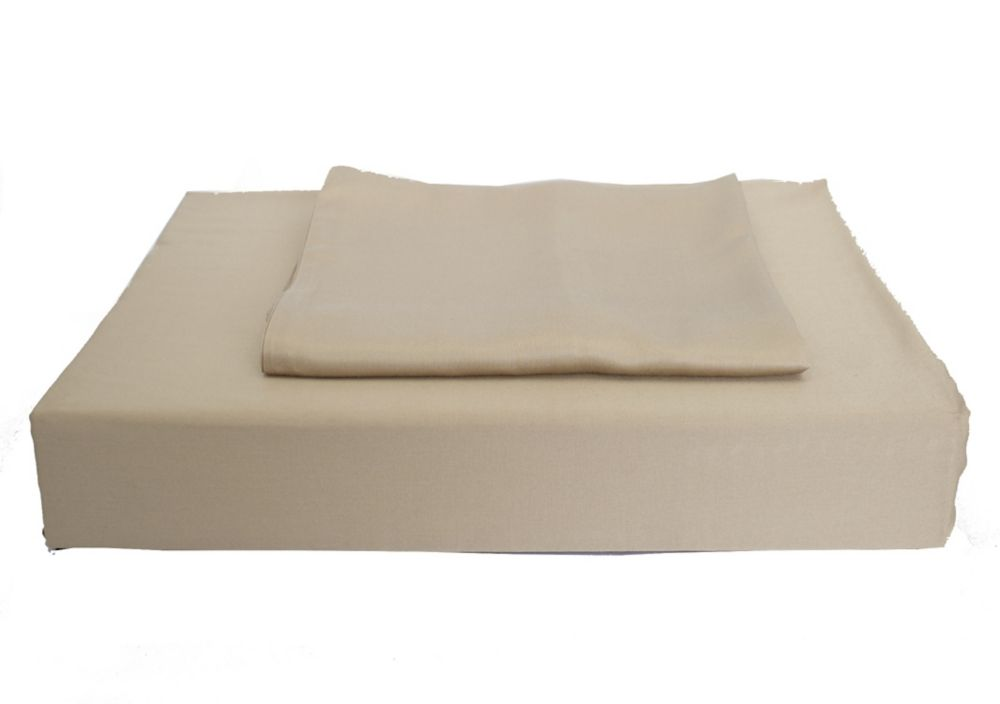 310TC Bamboo Solid Duvet Cover Set, Taupe, Double