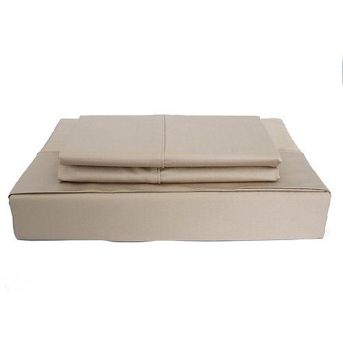Maholi 310TC Bamboo Solid Sheet Set, Taupe, Twin