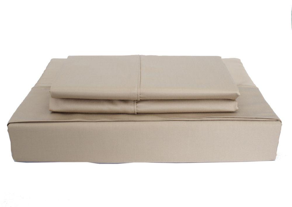 Maholi 310TC Bamboo Solid Sheet Set, Taupe, King
