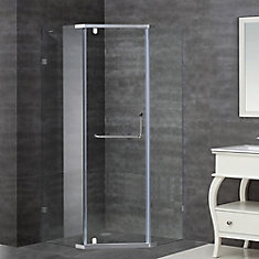 36-Inch  x 36-Inch  x 75-Inch  Neo-Angle Semi-Frameless Shower Stall in Chrome