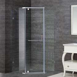Aston 36-Inch  x 36-Inch  x 75-Inch  Neo-Angle Semi-Frameless Shower Stall in Chrome
