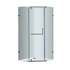 38-Inch  x 38-Inch  Neo-Angle Semi-Frameless Shower Stall in Chrome
