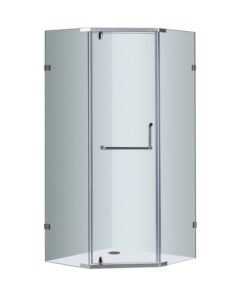 Aston 38-Inch  x 38-Inch  Neo-Angle Semi-Frameless Shower Stall in Chrome