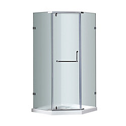 Aston 38 In x 38 In x 77.5 In Neo-Angle Semi-Frameless Shower Enclosure in Chrome with Shower Base