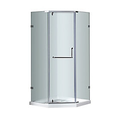 38 In x 38 In x 77.5 In Neo-Angle Semi-Frameless Shower Enclosure in Chrome with Shower Base