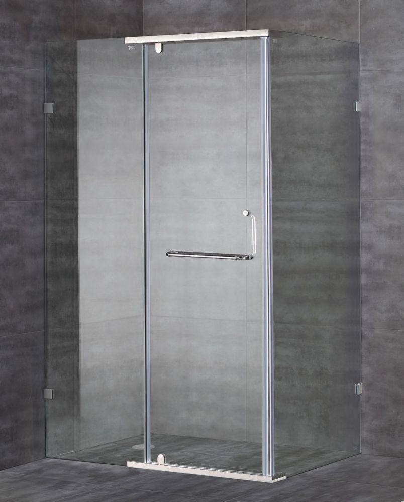 48-Inch  x 35-Inch  x 75-Inch  Semi-Frameless Shower Stall in Chrome