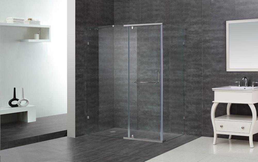 60-Inch  x 35-Inch  x 75-Inch  Semi-Frameless Shower Stall in Chrome