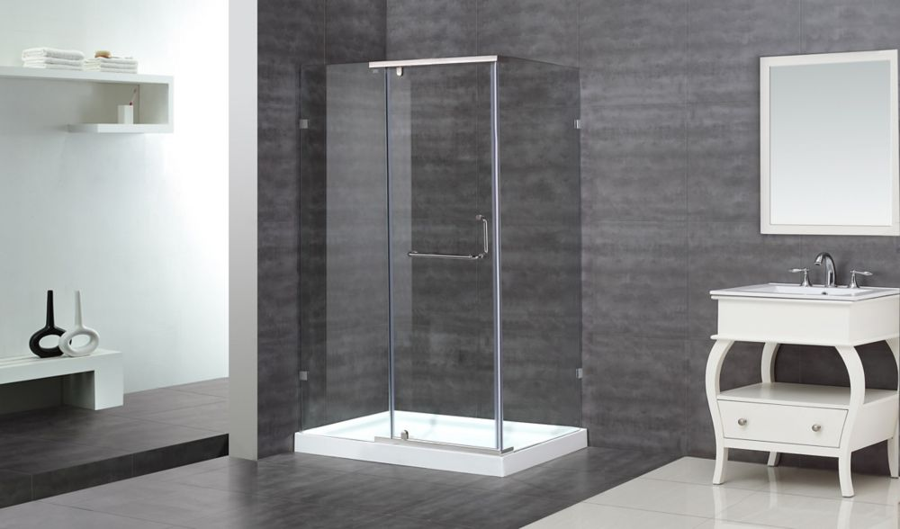 48-Inch  x 35-Inch  x 77 1/2-Inch  Semi-Frameless Shower Stall in Chrome