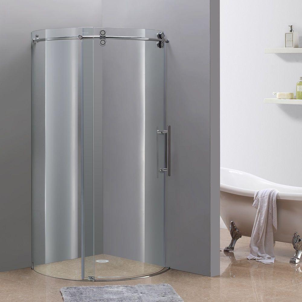 40 po x 40 po boîtier de douche ronde sans cadre en chrome avec ouverture droite