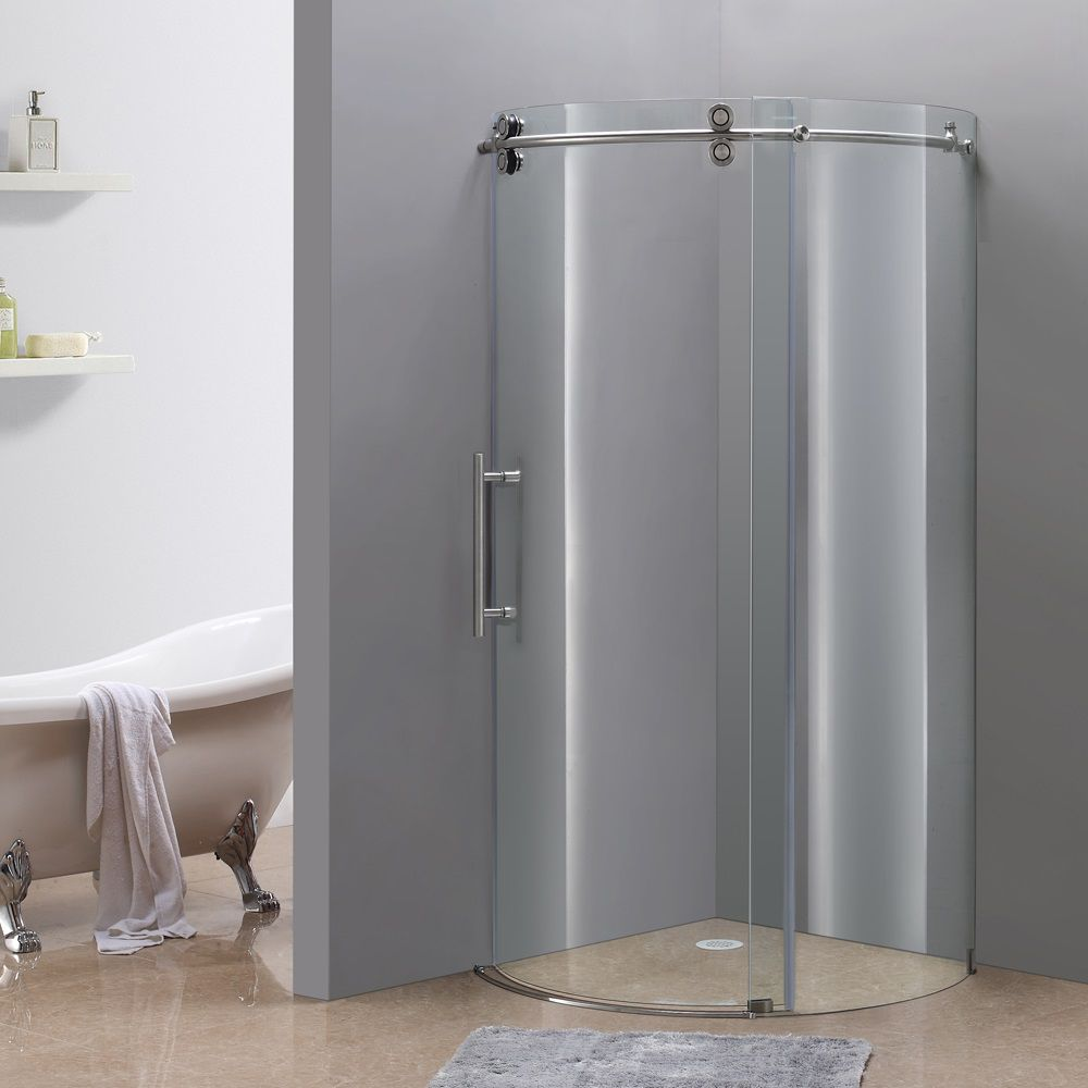 Orbitus 36-Inch  x 36-Inch  x 75-Inch  Frameless Round Shower Stall in Stainless Steel