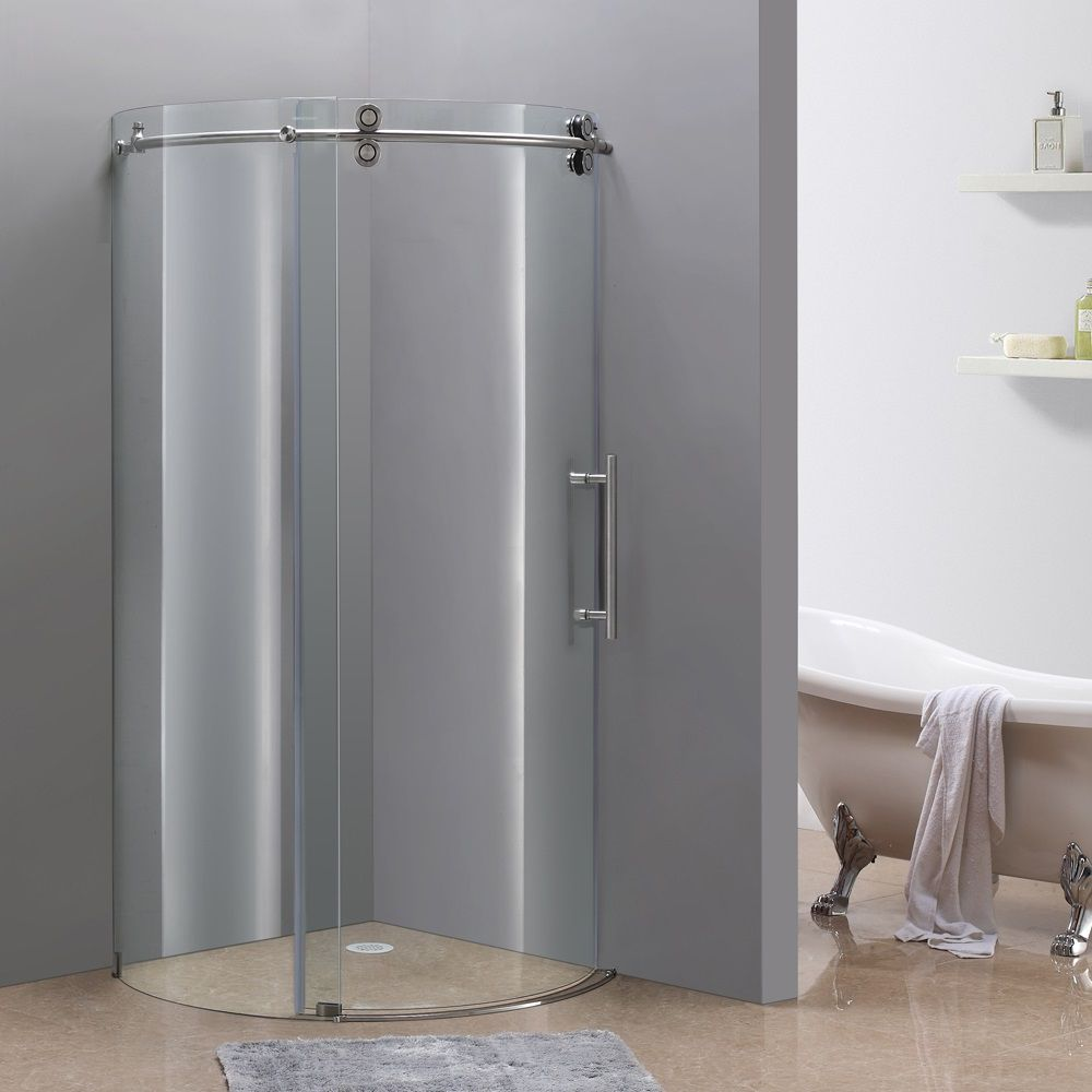Aston 36-Inch x 36-Inch Frameless Round Shower Stall in Stainless Steel