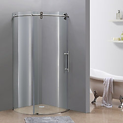 Aston Orbitus 40-Inch x 40-Inch x 75-Inch Frameless Round Shower Stall in Stainless Steel