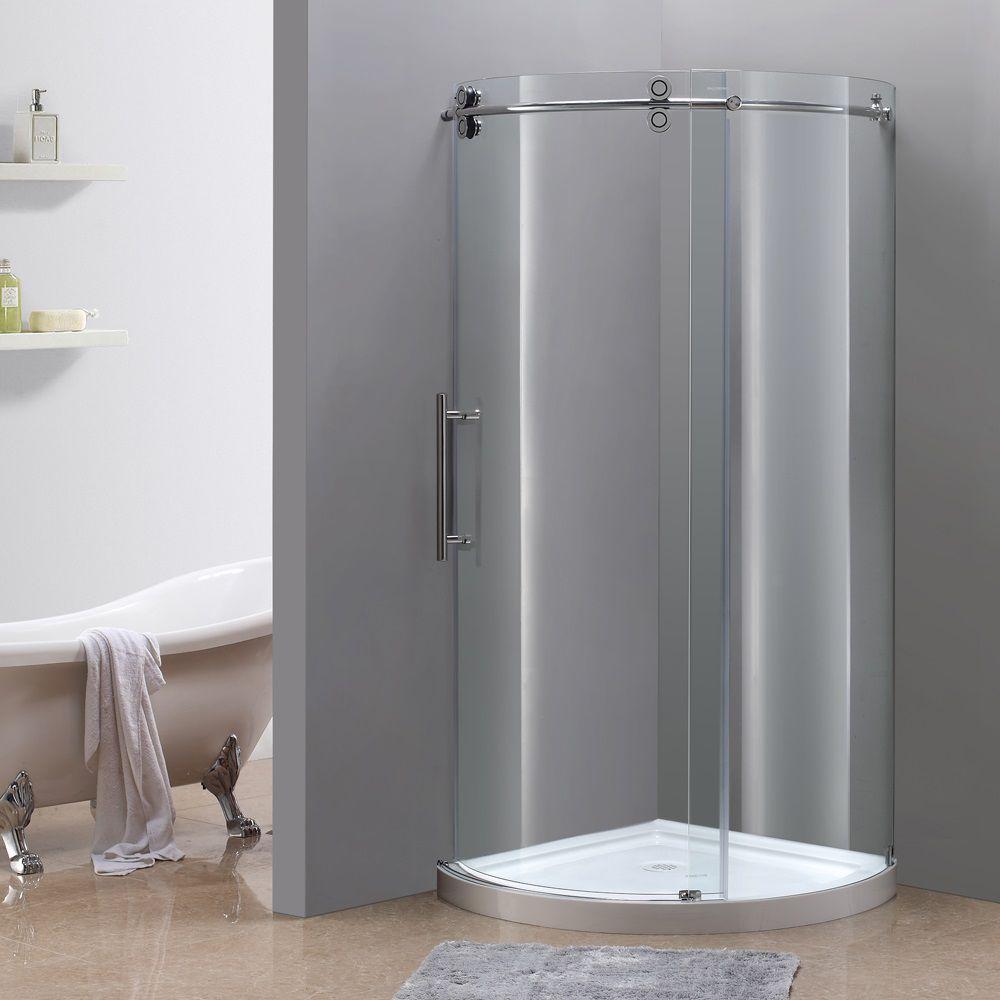 Aston Orbitus 36-Inch  x 36-Inch  x 77 1/2-Inch  Frameless Round Shower Stall in Chrome