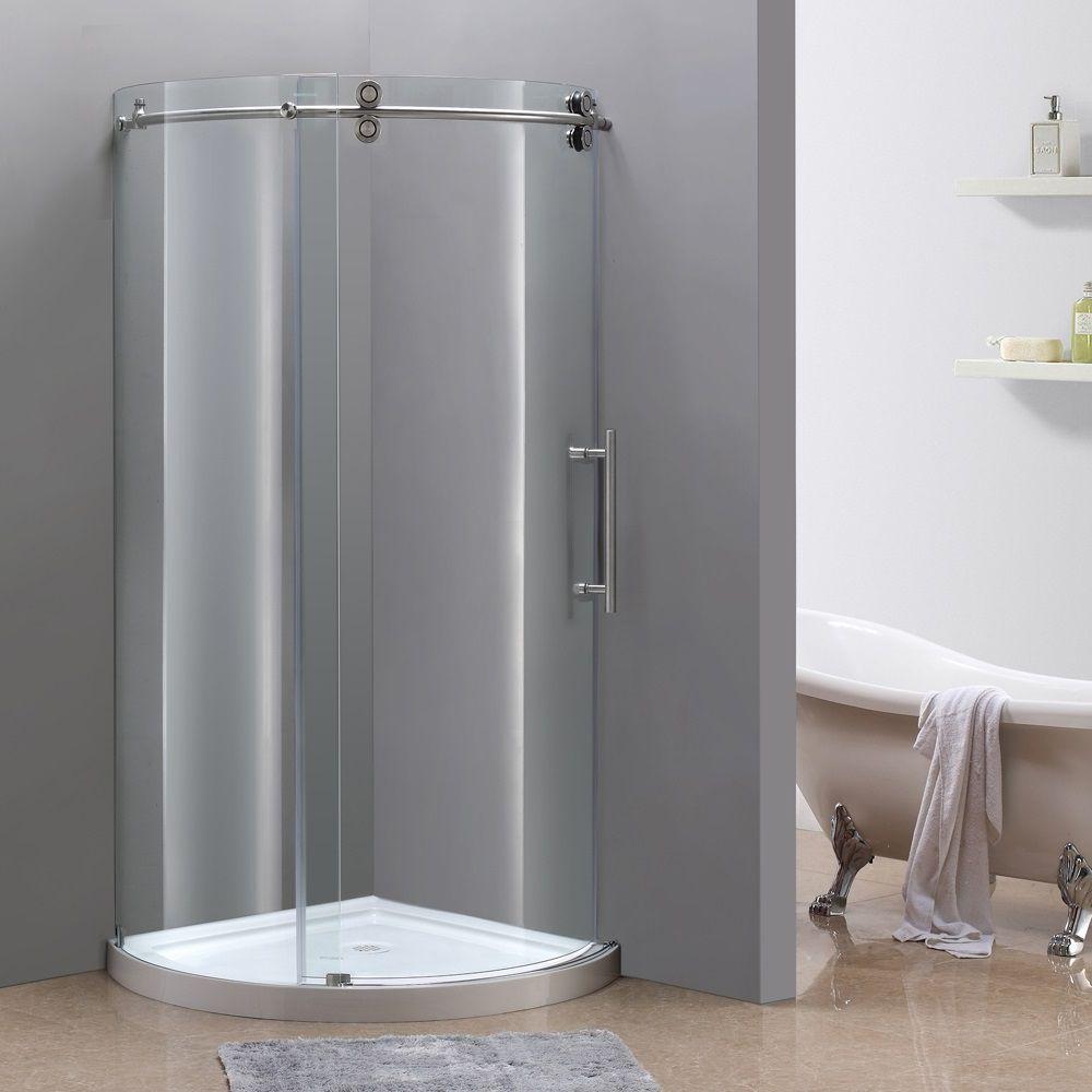 40 po x 40 po boîtier de douche ronde sans cadre en acier inoxydable avec Base, ouverture à droit...