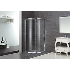 36-Inch  x 36-Inch  x 75-Inch  Round Bypass Semi-Frameless Shower Stall in Chrome