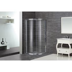Aston 36-Inch  x 36-Inch  x 75-Inch  Round Bypass Semi-Frameless Shower Stall in Chrome