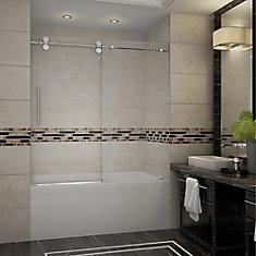 Langham 60-inch x 60-inch Frameless Tub-Height Sliding Shower Door in Chrome
