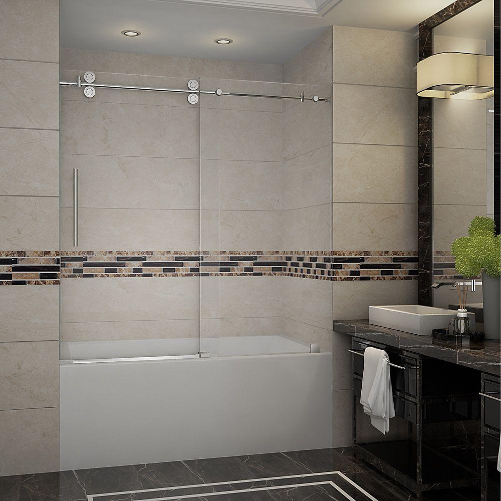 Aston Langham 60-inch x 60-inch Frameless Tub-Height Sliding Shower Door in Chrome