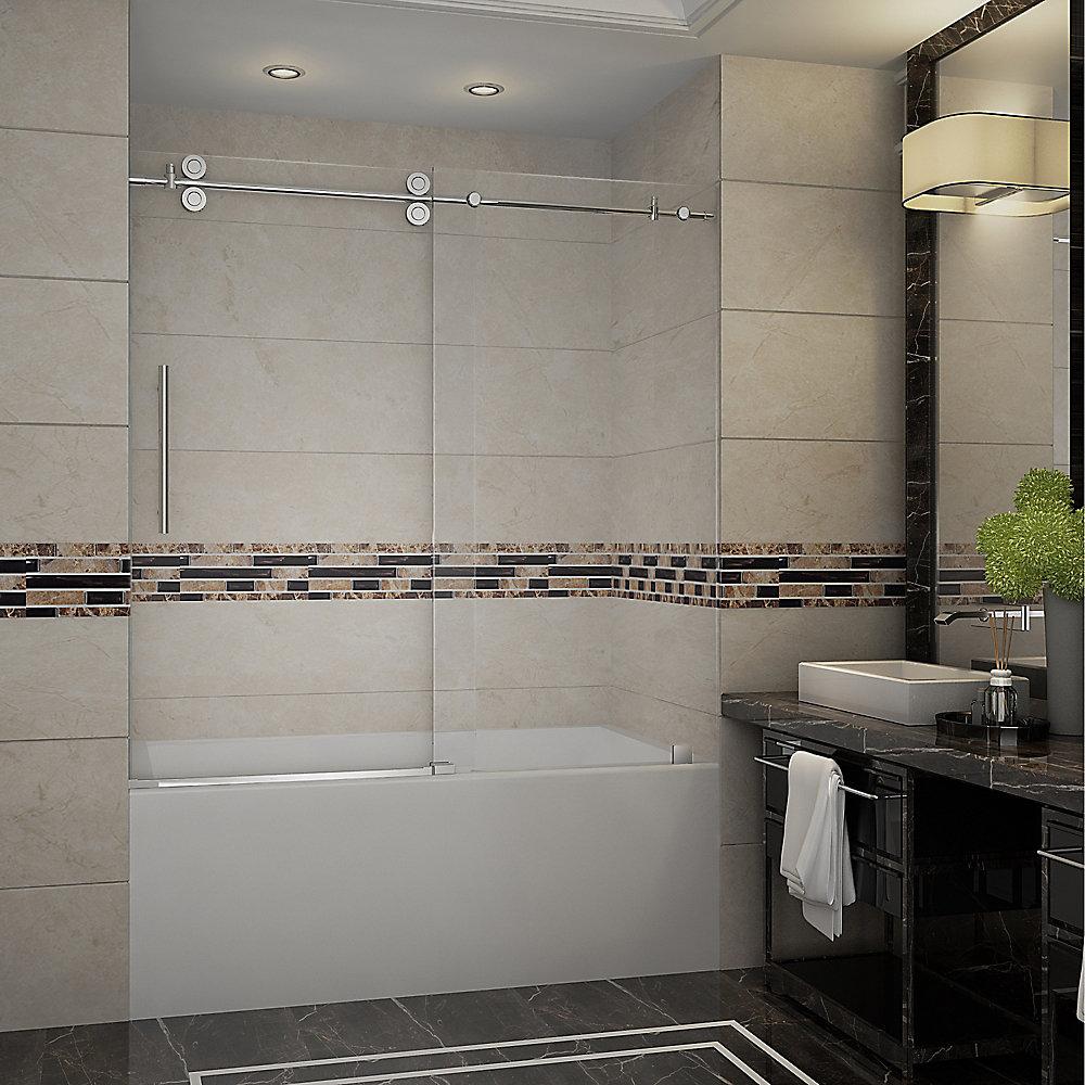 Langham 60-inch x 60-inch Frameless Tub-Height Sliding Shower Door in Stainless Steel