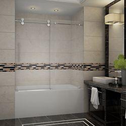 Aston Langham 60-inch x 60-inch Frameless Tub-Height Sliding Shower Door in Stainless Steel