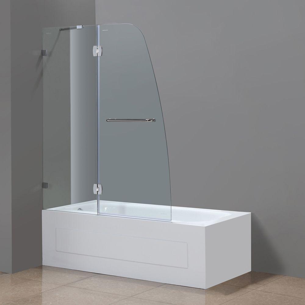 Aston Soleil 48 In x 58 In Completely Frameless Pivot Tub/Shower Door in Chrome