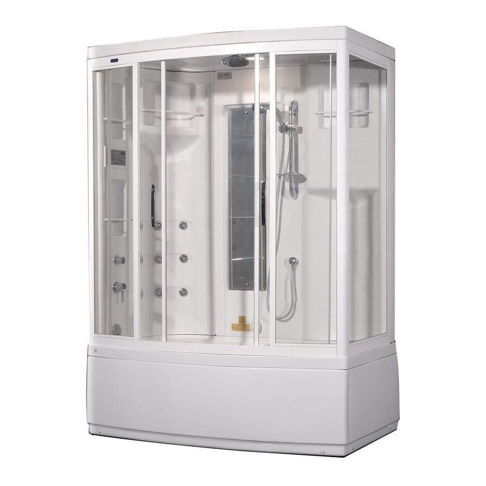 59 Inch x 36 Inch x 86 Inch Steam Shower Enclosure Kit with Whirlpool Bath with 9 Body Jets in Wh...