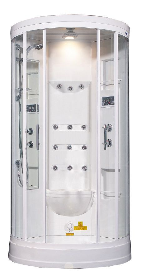 40 Inch x 40 Inch x 88 Inch Steam Shower Enclosure Kit with 12 Body Jets in White