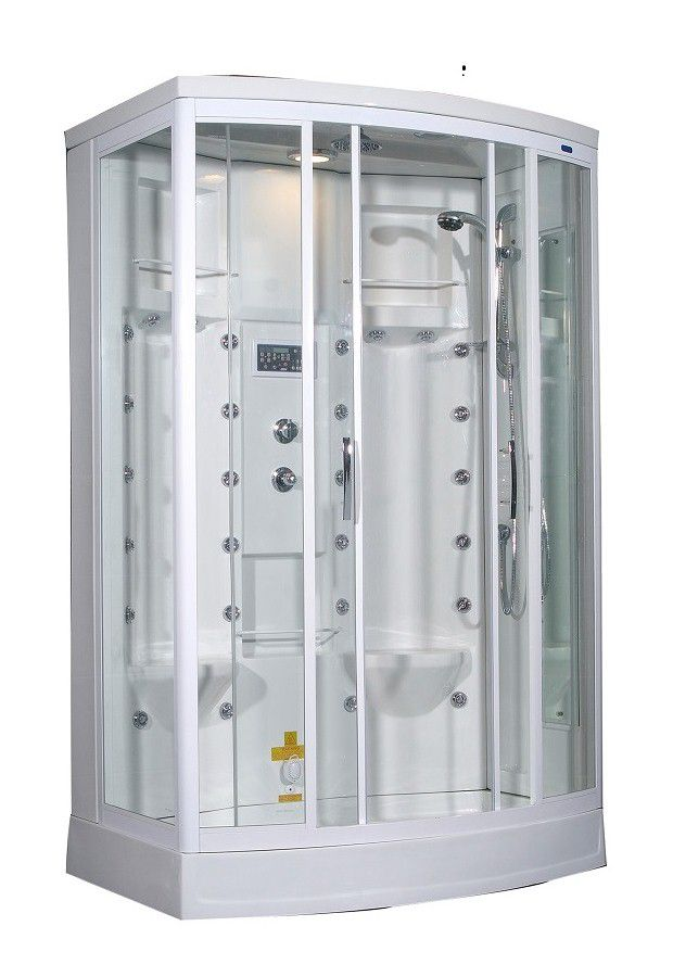 56 Inch x 37 Inch x 85 Inch Steam Shower Enclosure Kit with 24 Body Jets in White with Left Hand