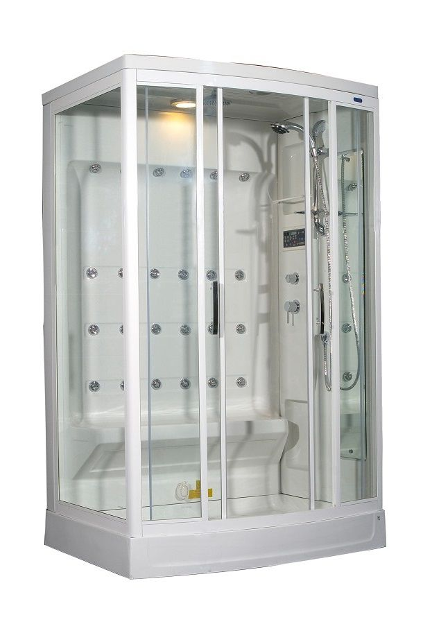 52 Inch x 39 Inch x 85 Inch Steam Shower Enclosure Kit with 24 Body Jets in White with Right Hand