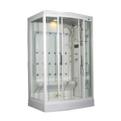 Aston 52 Inch x 39 Inch x 85 Inch Steam Shower Enclosure Kit with 24 Body Jets in White with Right Hand
