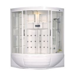 Aston 56 Inch x 56 Inch x 87 Inch Corner Steam Shower Enclosure Kit with Whirlpool Tub with 18 Jets in White