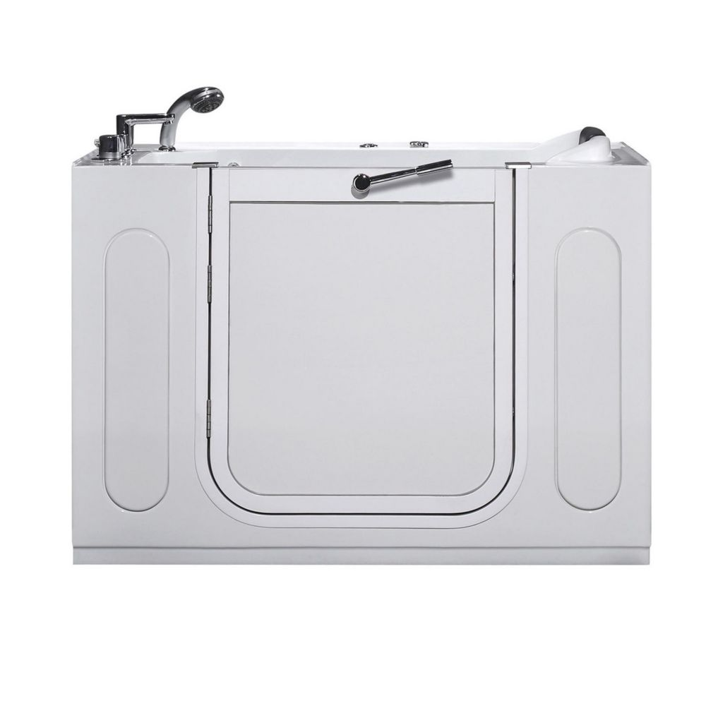 Aston 4 ft. 2-inch Rectangular Left Drain Whirlpool Walk-In Bathtub with Faucet in White