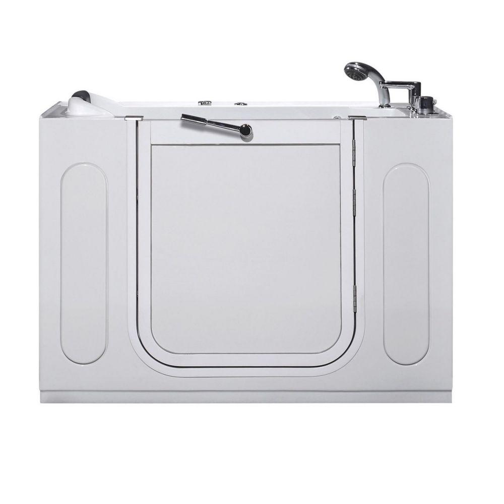 50 po Walk-in Whirlpool Bath Tub, avec Drain droit en blanc