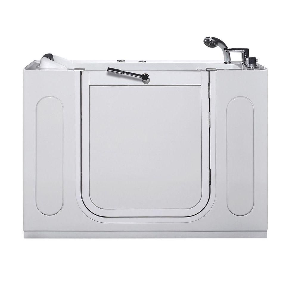 55 po Walk-in Whirlpool Bath Tub, Drain droit en blanc