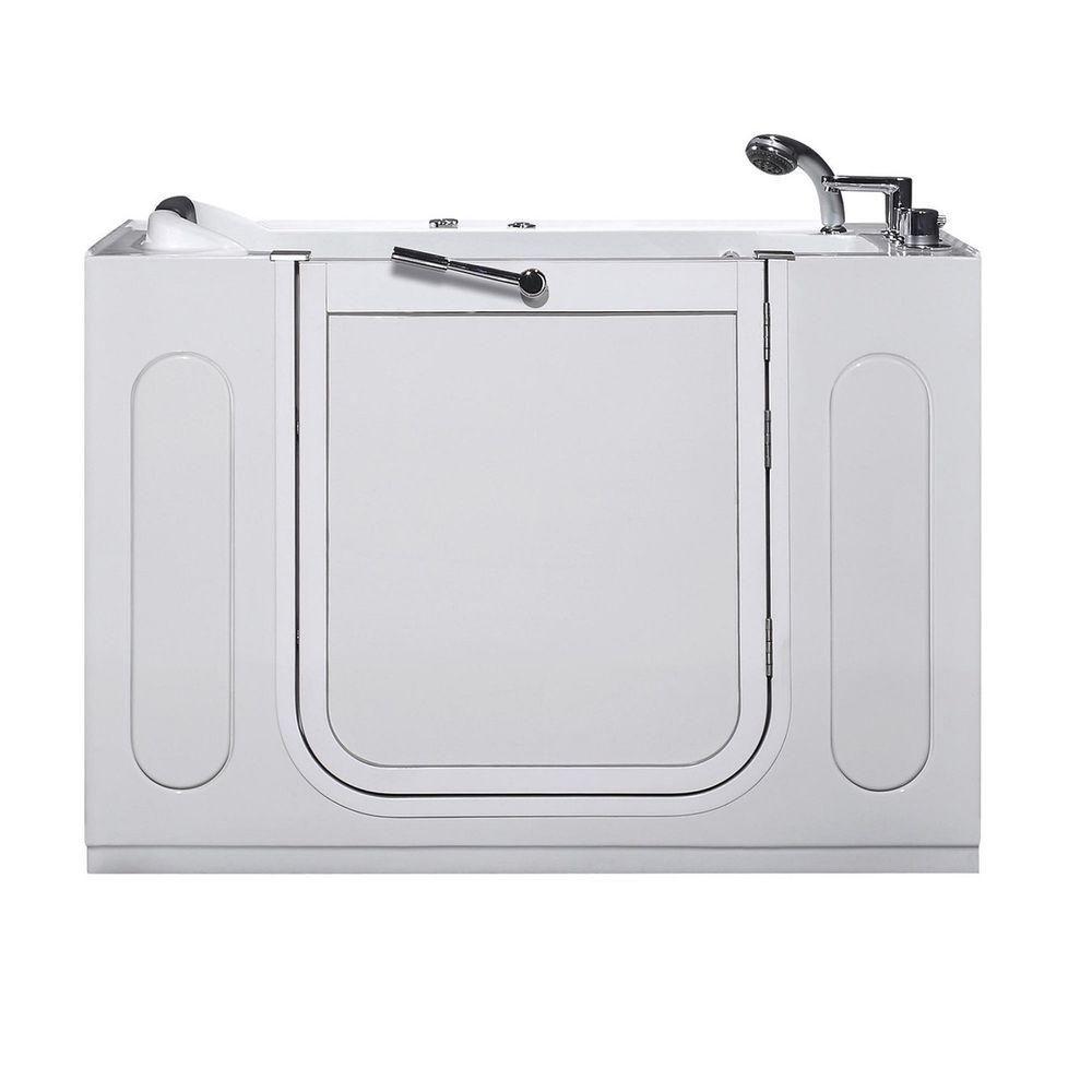 4 Feet 7-Inch Walk-In Whirlpool Bathtub in White