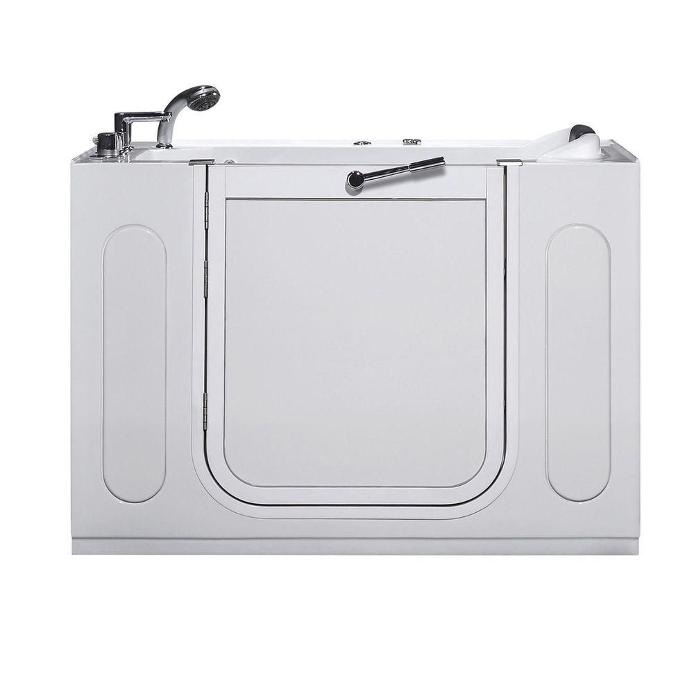 55 po Walk-in Whirlpool Bath Tub, Drain gauche en blanc