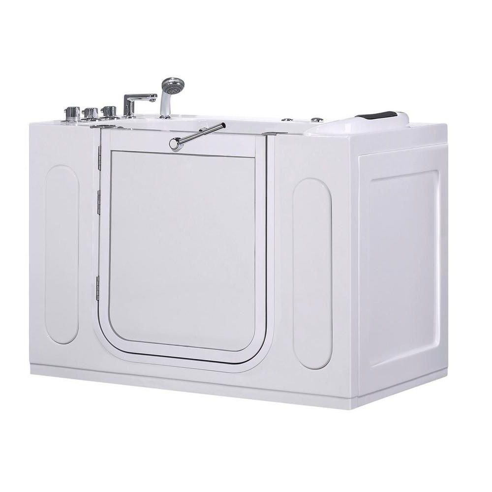 Aston 4ft. 7-inch Rectangular Left Drain Whirpool Walk-In Bathtub with Outward Swing with Faucet in White