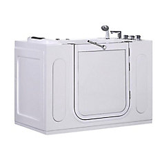 4ft. 7-inch Rectangular Right Drain Whirpool Walk-In Bathtub with Outward Swing with Faucet in White