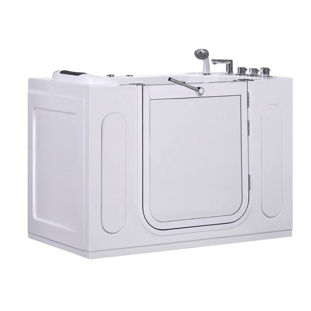 Aston 4ft. 7-inch Rectangular Right Drain Whirpool Walk-In Bathtub with Outward Swing with Faucet in White