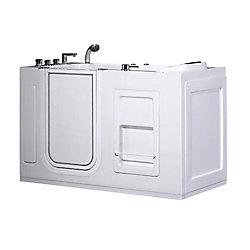 Aston 4ft. 6-inch Rectangular Left Drain Whirpool Walk-In Bathtub with Grab Bar in White