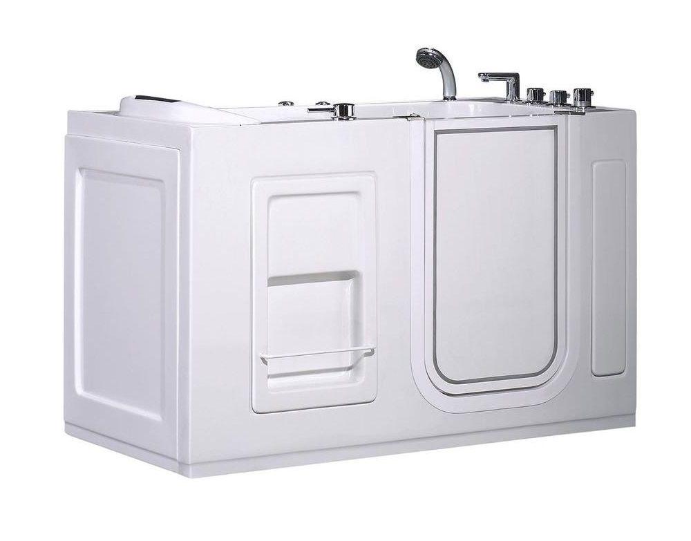 55 po Walk-in Whirlpool Bath Tub avec vidange droite et panneau latéral en blanc