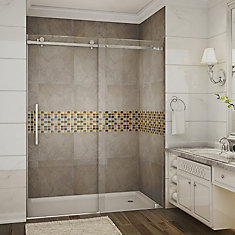 Moselle 60-inch x 75-inch Frameless Rectangular Sliding Clear Shower Door with Chrome Hardware